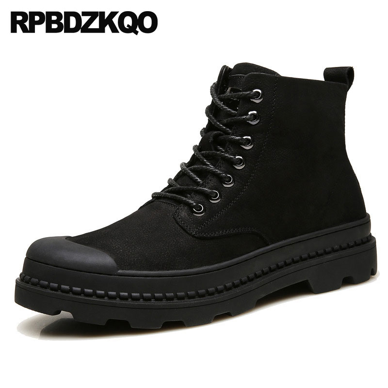 Ankle Military Army Genuine Leather Combat Booties Full Grain Boots High Sole Shoes Men British Style Black Platform Thick Soled ankle strap heels wrap full grain leather t low cut uppers british style high quality round toe single shoes with thick soles