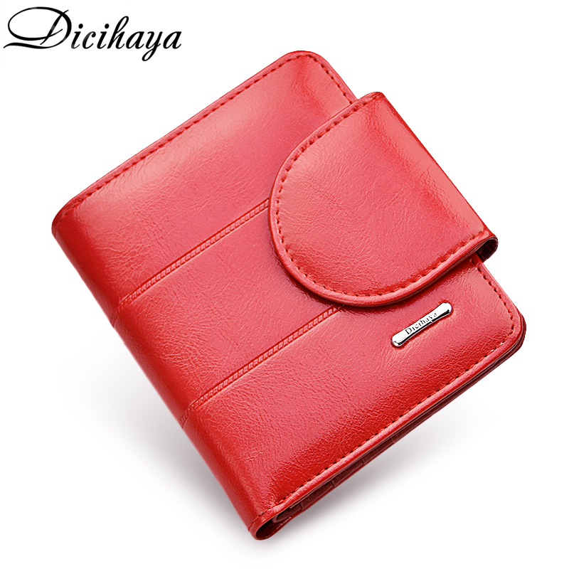 DICIHAYA Genuine Leather Women Wallet And Purses Coin Bag Female Small Red Wallet Lady Purse For Girls Money Bag Card Holder