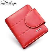 DICIHAYA Genuine Leather Women Wallet And Purses Coin Bag Female Small Red Lady Purse For Girls Money Card Holder