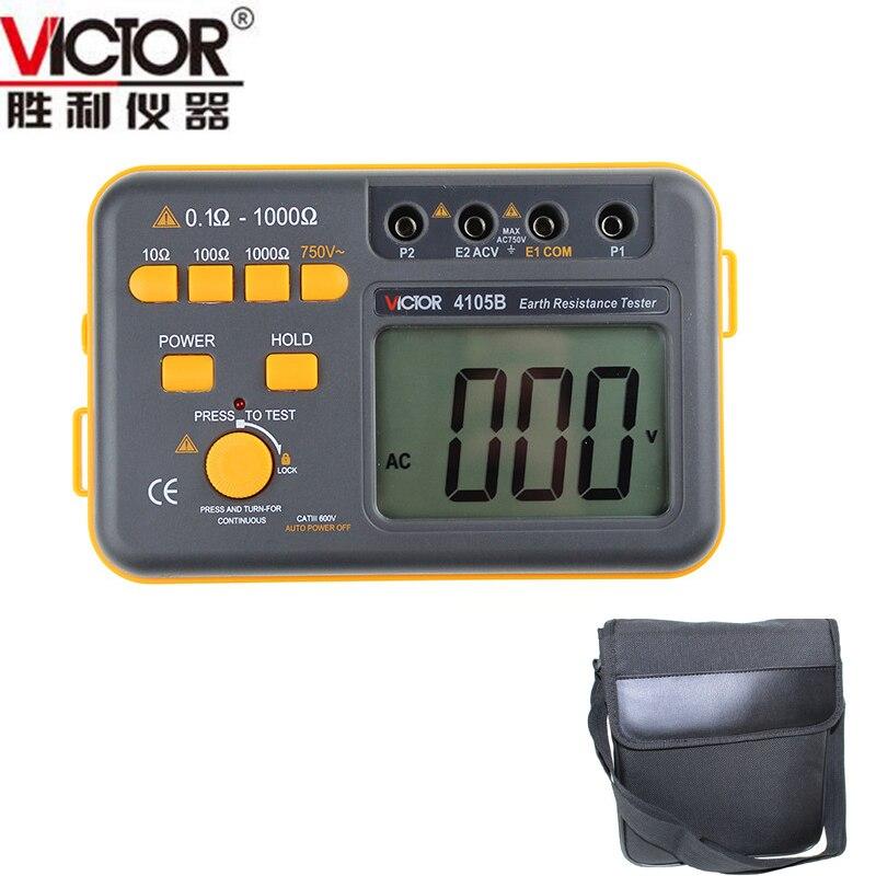 VICIOR VC4105B 4105B Digital Earth Résistance Ground Tester Terre Voltmètre Ohmmètre 0.1 ~ 1000Ohm 750 V