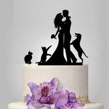 Свадебные силуэт для вершины торта с собаками пользовательский жених и невеста свадебные топперы современный Семья вечерние украшения сувениры