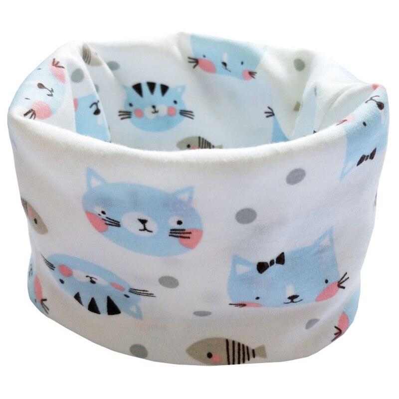 Новинка; Модный хлопковый шарф для маленьких девочек; осенне-зимний шарф для маленьких мальчиков; Детский шарф с круглым вырезом; Детские шарфы; волшебный шейный платок - Цвет: blue cat scarf