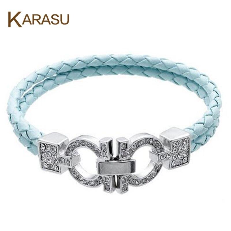Us 819 Karasu Mode Emas Putih Warna Ganda Surat U Ikatan Simpul Tali Kecil Austria Kristal Rantai Gelang Untuk Wanita Gadis Perhiasan Di Charm