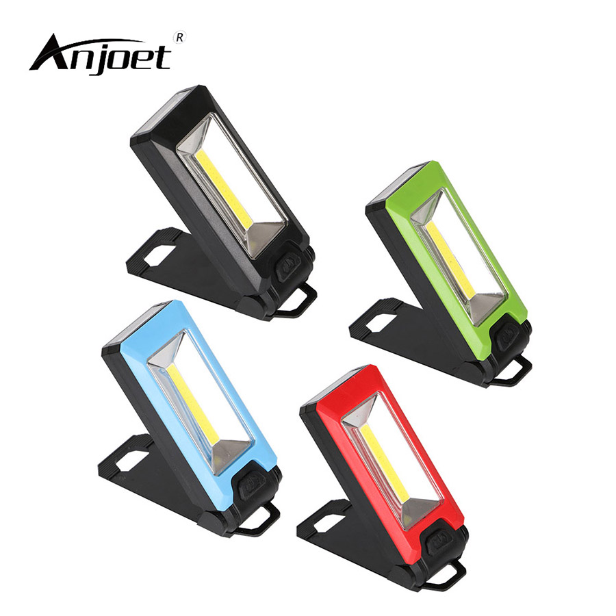 ANJOET Work Light With Strong Magnetic Handy Hook 4LED+COB Inspection lamp for Car and Truck Repair, Camping Tent Using