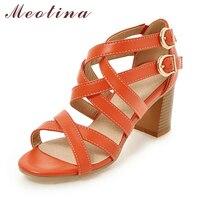 Meotina Women Shoes Sandals 2017 High Heels Cross Strap Gladiator Sandals Rome Open Toe Chunky Heel