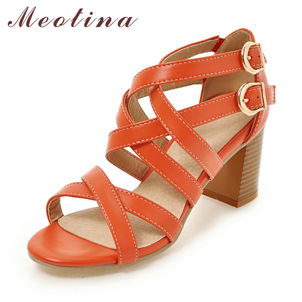 Meotina Women Shoes Sandals 2017 High Heels Cross Strap Gladiator Sandals Rome Open Toe Chunky Heel Shoes Orange Beige Size 9 10 new fashion women open toe metal chain strap cross gladiator sandals buckle design super high heel sandals dress shoes