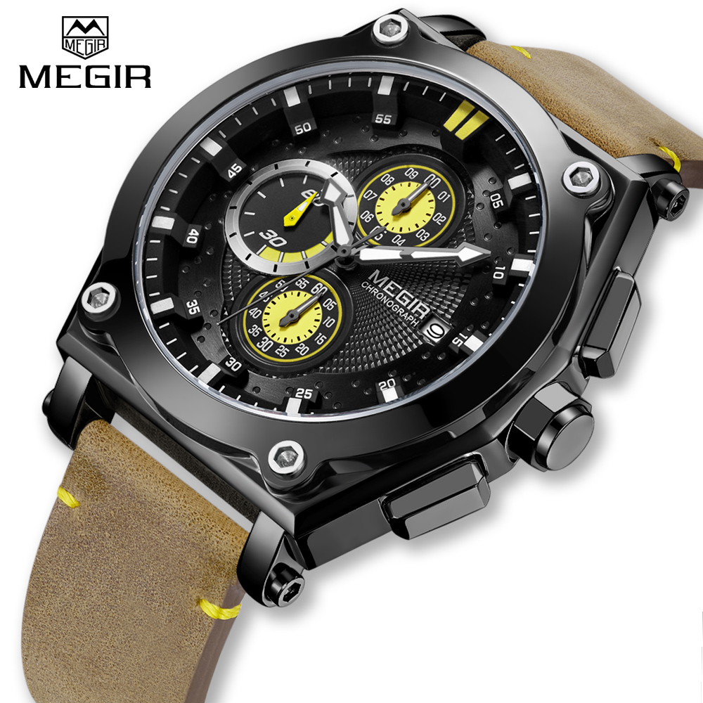 Casual Sport Watches for Men MEGIR Fashion Quartz Watch Mens Chronograph Waterproof Wristwatch with Date Display цена 2017