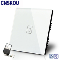 Manufacturer SANKOU Remote Dimmer Switches 220V White Glass Panel UK 1Gang1Way Remote Sensor Light Switch Remote
