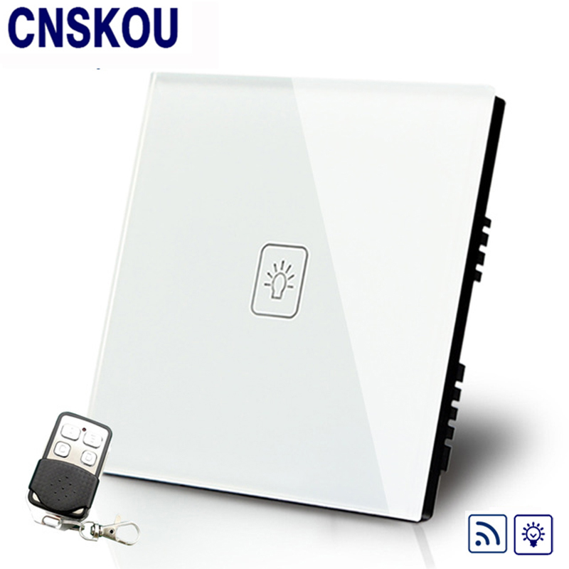 Cnskou Manufacturer Remote Dimmer Switches 220V  White Glass Panel UK 1Gang1Way Remote Sensor Light Switch& Remote Controller uk standard 1gang1way led touch dimmer switches white crystal glass panel light wall switch dimmer smart home ac220v
