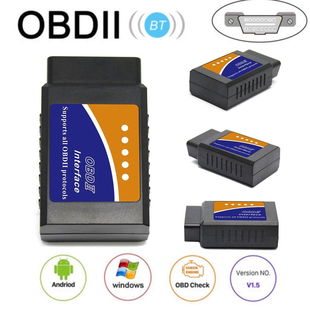 Nueva interfaz ELM 327 V1.5 funciona en Android Torque CAN-BUS Elm327 Bluetooth OBD2/OBD II herramienta de diagnóstico de coche escáner Coche Mini portátil ELM327 V2.1 OBD2 II Bluetooth diagnóstico coche Auto interfaz escáner azul Premium ABS herramienta de diagnóstico