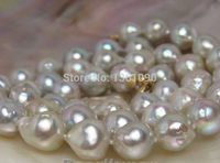 003489 Ocean Natural rare Silver Gray Pearl necklace 14kGOLD BAROQUE (C0309)