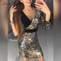 Deer Lady 2018 Summer Dress Women Club V Neck Party Dress Sexy Bodycon Luxury Sequin Dress