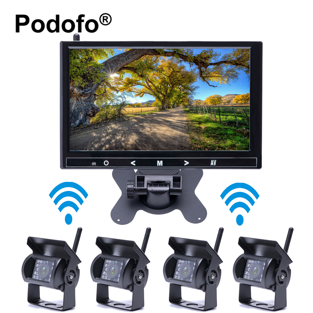Podofo Wireless 4 Car Backup Cameras Waterproof 18 IR Night Vision with 9 HD Rear View Monitor for Truck /Trailer /RV /Bus podofo wireless truck vehicle car rear view backup camera 7 hd monitor ir night vision parking assistance waterproof for rv rc