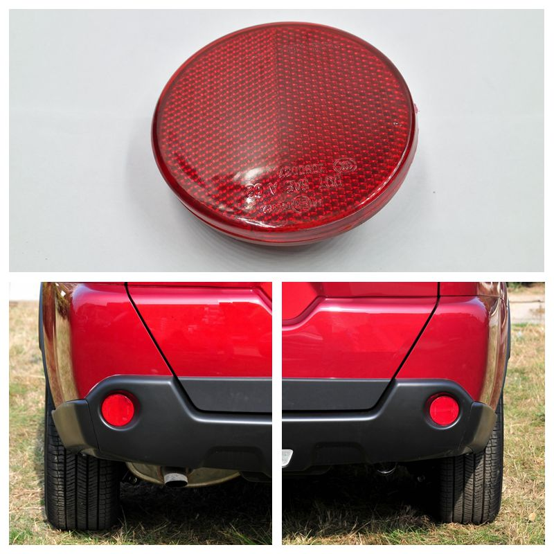 Cafoucs For Nissan X-Trail 2008-2013 T31 Car Rear Bumper Reflector warning light Red Lens billet rear hub carriers for losi 5ive t