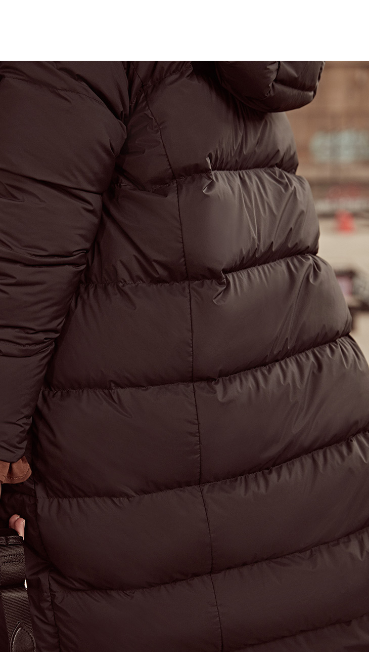 ONLY womens' winter new medium and long black down jacket Partial sill design Hooded collar|118312555 6