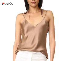 Vancol 2017 Summer Solid Silk Tank Top Strap Sleeveless Deep V Neck Loose Crop Top Outwear