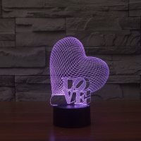 Heart LOVE 3D Visual Illusion Lamp Transparent Acrylic Night Light LED Lamp 7 Color Changing Touch Table Lamp Valentine's Day