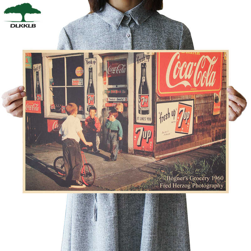 DLKKLB Retro Poster American Street Shop Poster Vintage Kraft Paper Bar Cafe Decoration Wall Stickers Room Decoration Painting