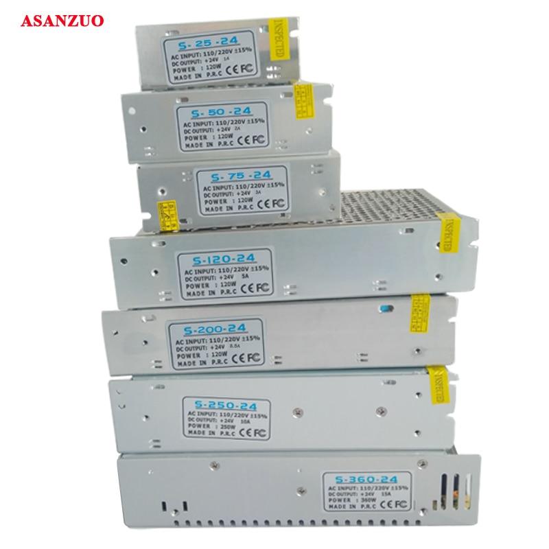 Светодиодный трансформатор, входное AC220V-240V, выход 24 в 1 2 3 5 8,5 10 15 импульсный источник питания для светодиодной ленты 25 50 75 120 360W