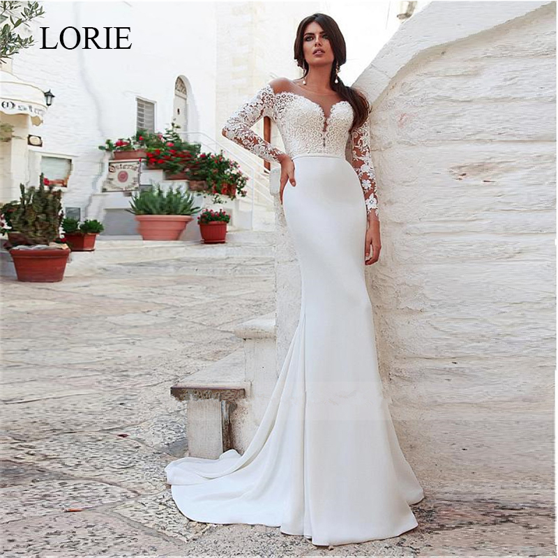 LORIE Mermaid Wedding Dress 2019 Amazing Tulle Four Way Spandex Scoop Neckline With Lace Appliques Long