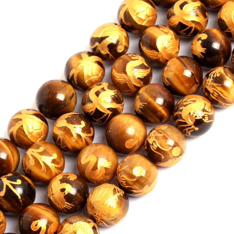 цена на Gem-inside 10-14mm Natural Gold Carved Dragon Turtle Tiger Phoenix Yellow Tiger Eye Beads For Jewelry Making 15'' DIY Father Gif