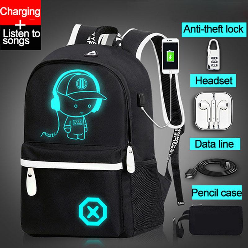 Детский рюкзак, школьные сумки для мальчиков и девочек, светящийся школьный рюкзак в стиле аниме, Детский водонепроницаемый книжный рюкзак с usb зарядкой, школьный рюкзак для подарка|Школьные ранцы| | АлиЭкспресс