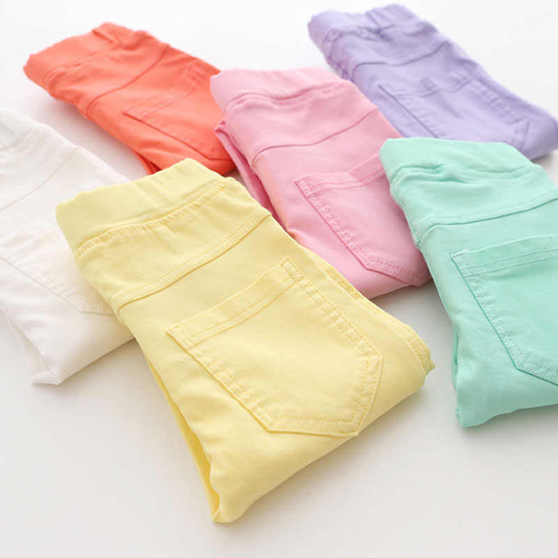 High Quality Spring Summer Fashion Children Pants Candy Color Pencil Girls Pants
