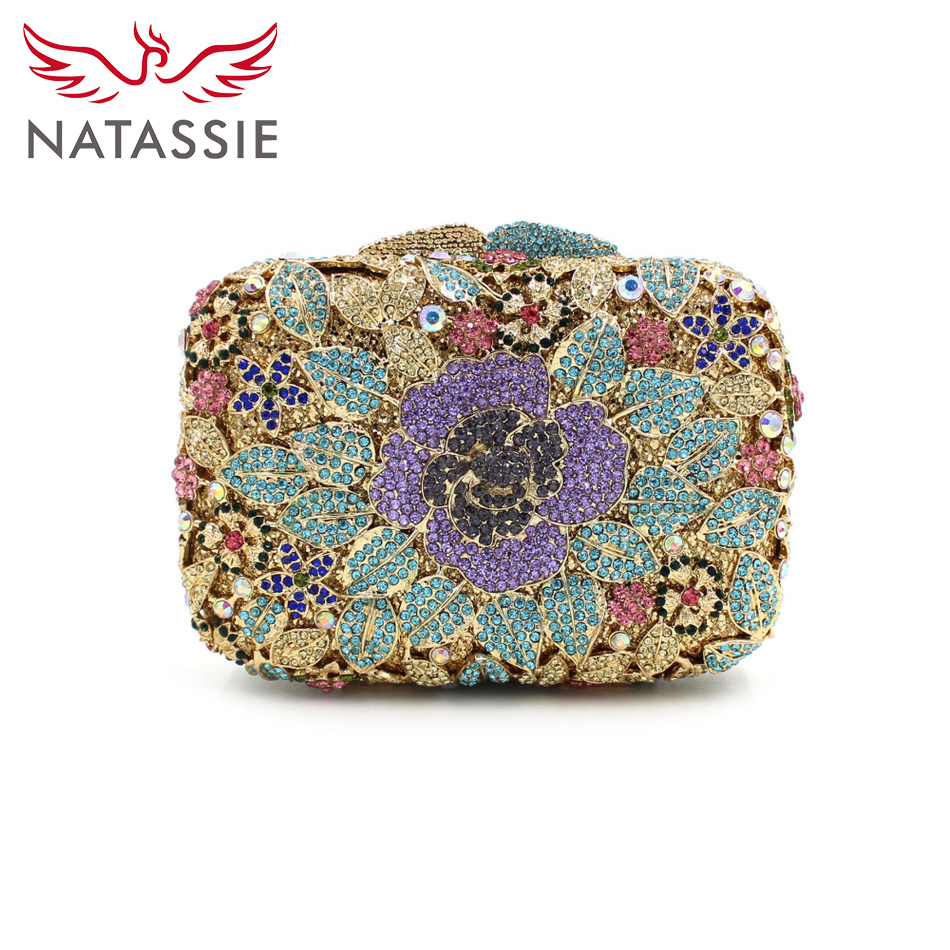 ФОТО NATASSIE Fashion Women Day Casual Flower Cluches Evening Shoulder Bags With Chain Lady Party Floral High Quality Purses