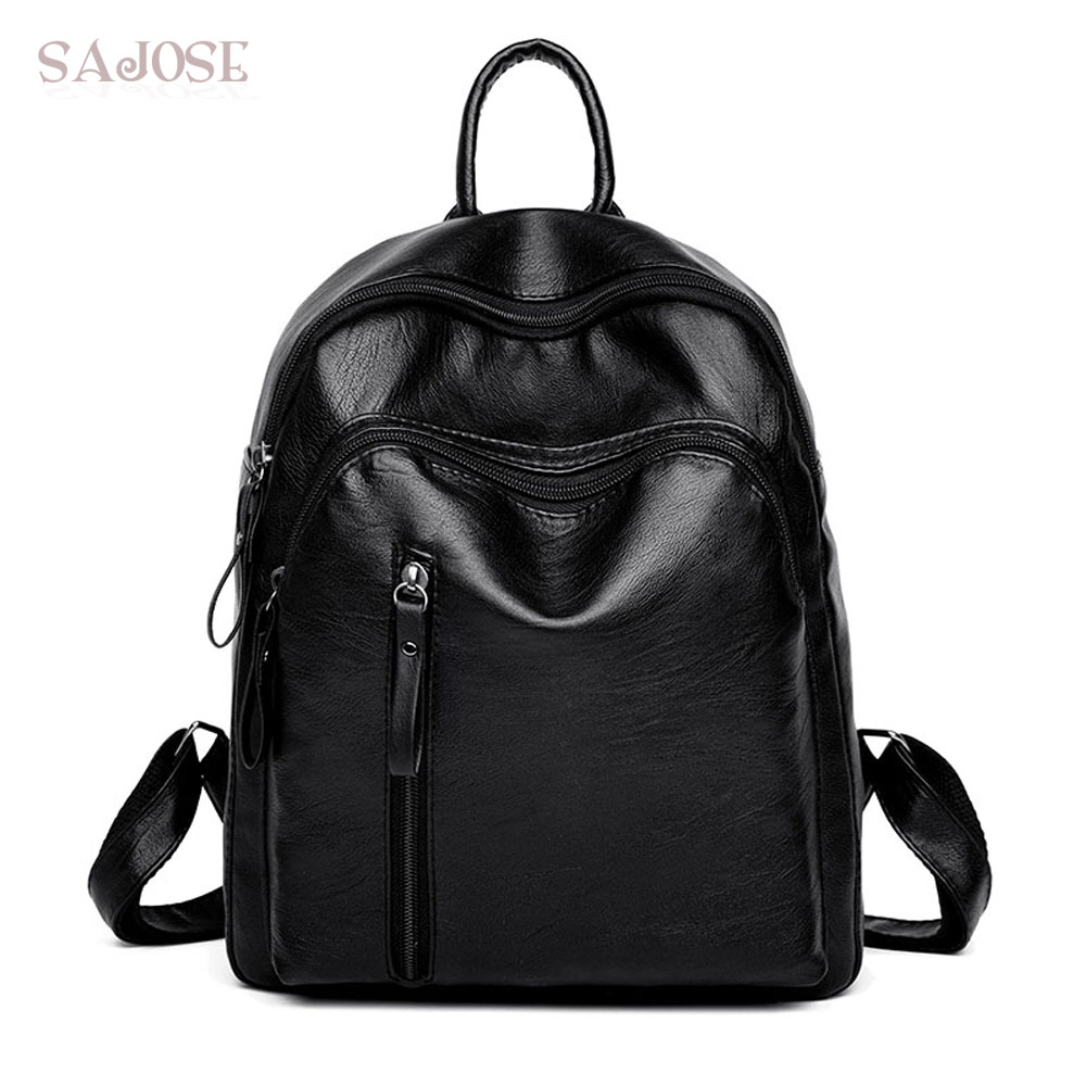Fashion Backpack Women School Bags for Teenager Black Small Backpacks High Quality Girls Spring PU Leather Shoulder Back Pack