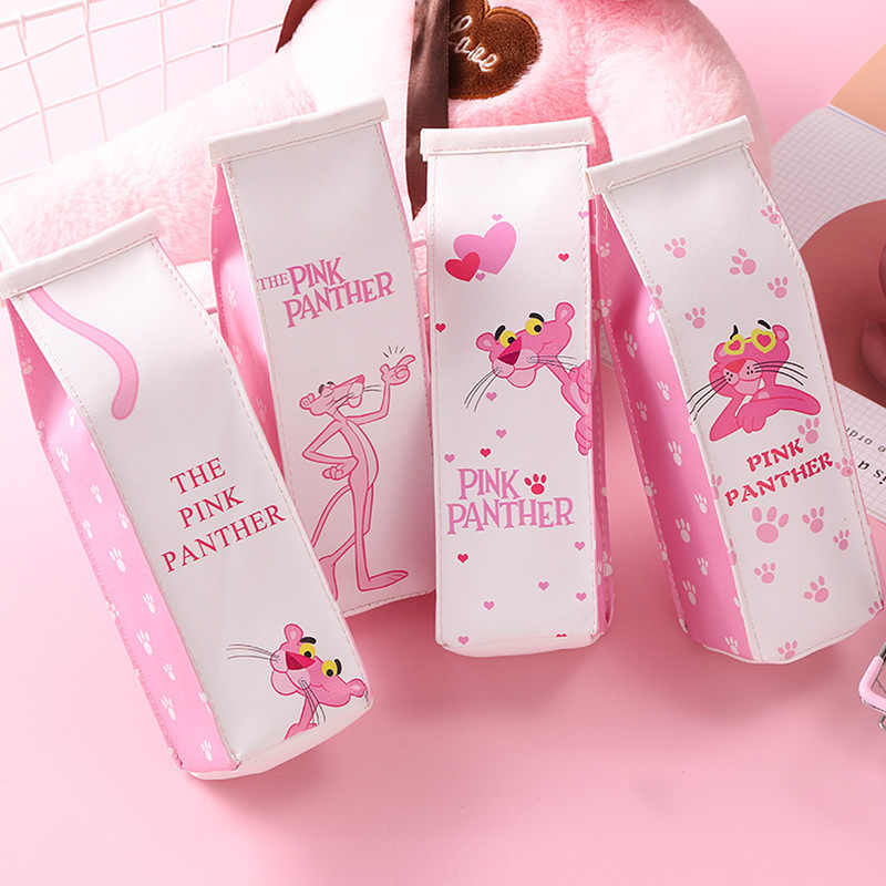 Korean stationery Pink Panther Kawaii milk Pencil case cute Cartoon Student School Supplies Pencil Box Pencilcase bts Pencil Bag