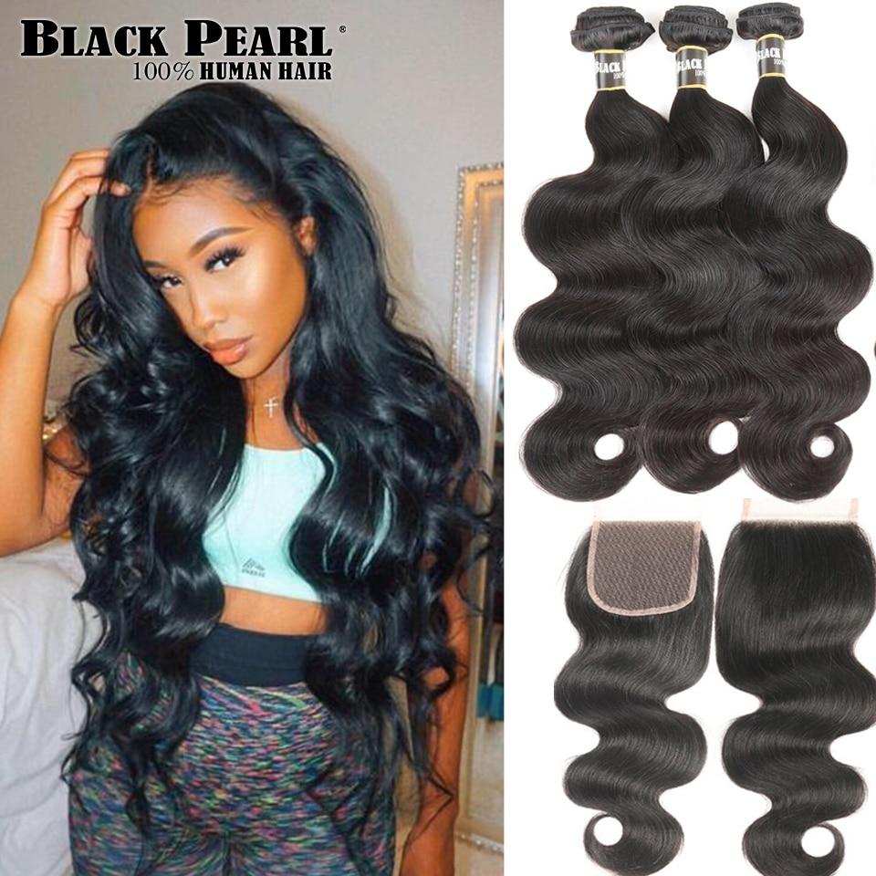 Black Pearl Peruvian Hair Bundles With Closure Body Wave Bundles With - Skönhet och hälsa
