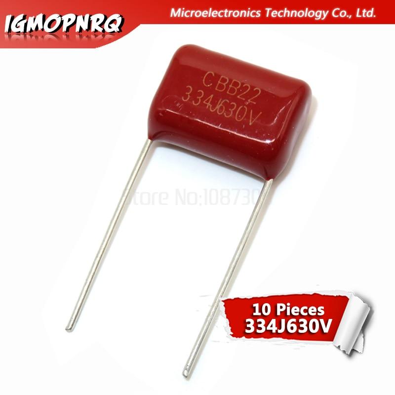 50PCS CBB Metallized Film Capacitor 0.47uF 474J 630V P=20MM