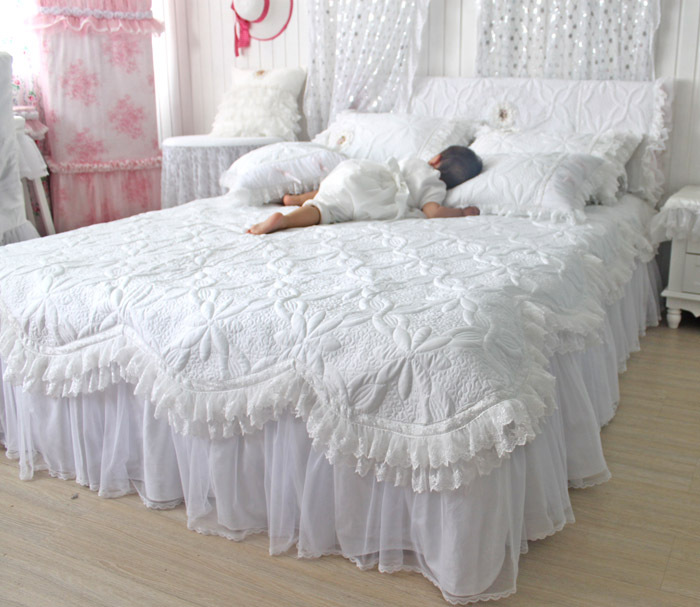 Custommade Beautiful Comforters Sets White Lace Ruffled
