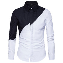 LOLDEAL Mens Cotton Black White Stitching Color Shirts Casual Slim Fit Fashion Men Lapel Large Size Long-sleeve Shirts Male color block plaid lapel long sleeve mens shirts