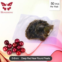 2018 Seawater Cultured Love Wish Pearl Oyster with Round Pearl Inside One Deep Red Pearls (50pcs Oyster Vacuum Packed)
