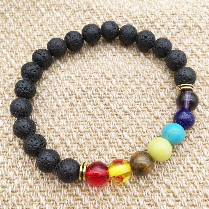 Black Lava Rock 8mm Beads 7 Chakra Healing Balance Bracelet for Men Women Reiki Prayer Stone Yoga Chakra Bracelet Drop Shipping 3