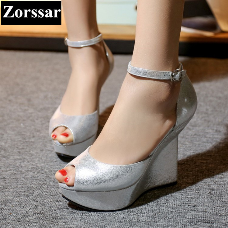 {Zorssar}Brand 2017 NEW Summer shoes Womens wedges peep toe sandals sexy high heels platform pumps women party shoes silver 12CM zorssar brand 2017 high quality sexy summer womens sandals peep toe high heels ladies wedding party shoes plus size 34 43