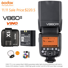 Godox V860II-N TTL Speedlite 2.4G Wireless Li-ion Battery 1/8000S Flash Light+X1T-N Flash Trigger Transmitter for Nikon Camera new meike mk mt24 wireless dual flash speedlite trigger macro photography for nikon camera dual flash speedlite trigger