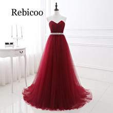 Rebicoo 2019 female wine red evening dress formal tulle sweetheart neckline sequins beaded slim skirt