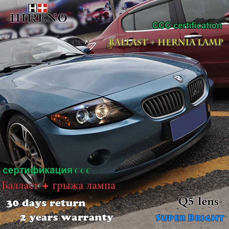 Hireno Headlamp for 2002-2008 BMW Z4 Headlight Assembly LED DRL Angel Lens Double Beam HID Xenon 2pcs hireno headlamp for mercedes benz w163 ml320 ml280 ml350 ml430 headlight assembly led drl angel lens double beam hid xenon 2pcs