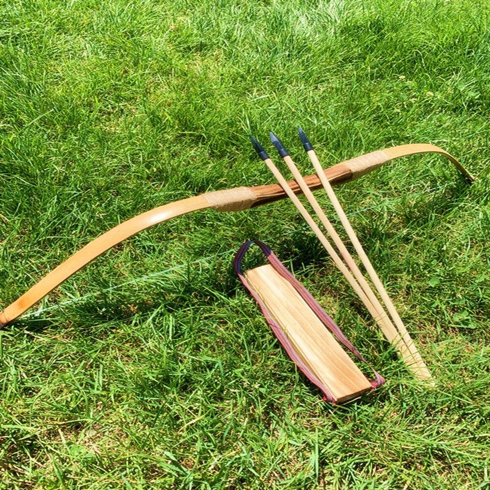 أقواس خشبية الخيزران الأطفال الانحناء والسهام مع 3 سلامة السهم جعبة واقي للذراع مجموعة للخارجية الرماية الصيد اللعب هدية الأطفال