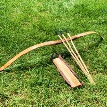 Arco de madeira de bambu, arcos e flechas com 3 setas de segurança, conjunto de proteção para braço, tiro ao alvo, brinquedos de caça presente das crianças