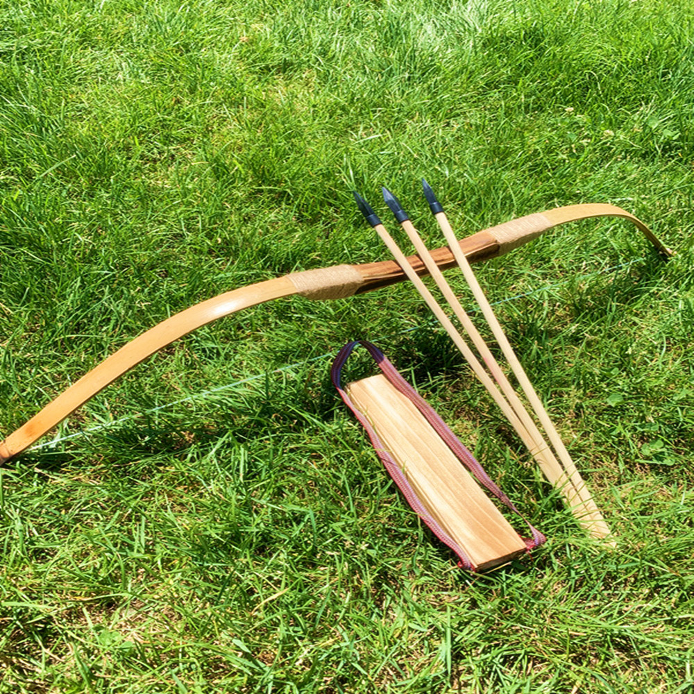 Powerful Wooden Bamboo Bow With 3 Arrows And Quiver Kids Toy Wood Archery Bow  DIY Set