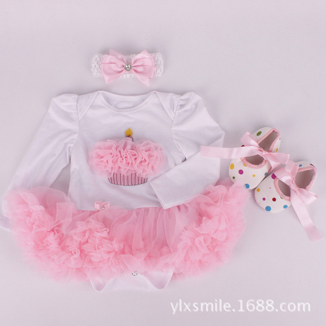 Kids Cute Newborn Dress Bonnie Cheap Baby Party Girl White Toddler