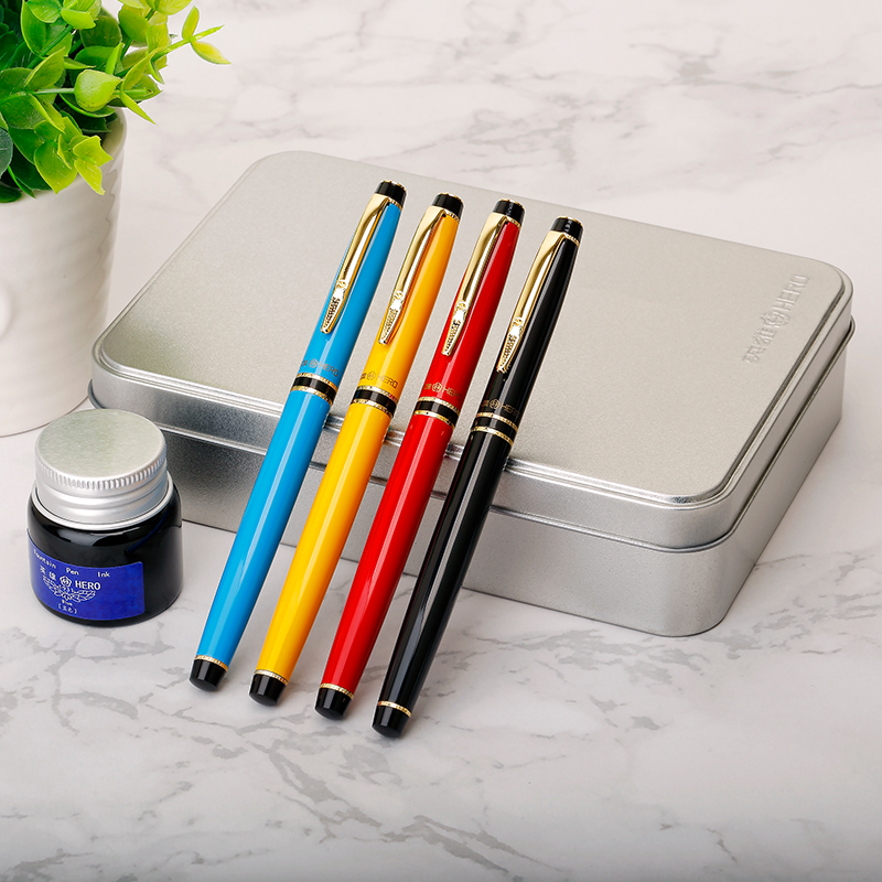 Hero Fountain Pen Blue Ink Set Black Blue Yellow Red 0.38mm Hooded Extra Fine Financial Pens Business Gift Writing Stationery segal business writing using word processing ibm wordstar edition pr only