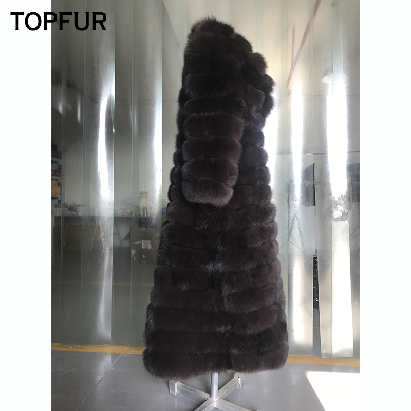 TOPFUR Real Photo Fur With Turn-Down Collar Winter Thick Fox Fur Long Jacket  Women Luxury Natural Fox Fur Coat Skirt Type