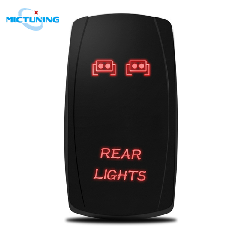 MICTUNING 5Pin Laser Red Rear Lights Rocker Auto SPST Toggle Switch On-Off LED 20A 12V Car Waterproof Replacement Switches Parts(China)
