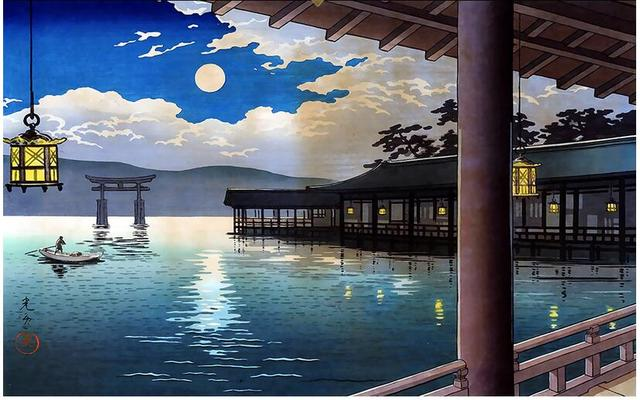 3d Wallpaper Custom Photo Non Woven Mural Wall Sticker 3 D Japanese Garden  Moonlit Scene