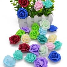 20pcs/lot 5cm Multicolor Artificial Crimping PE Foam rose head Use For Wedding Decoration Decorative Wreaths Craft Gift Supplies