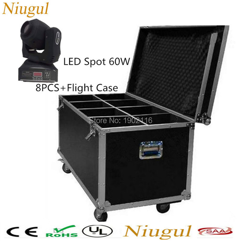 8pcs/lot With flight case for Best quality 60W spot light/ 60W dj disco lights/ 60W led gobo moving head light DMX patterns lamp 4pcs lot 30w led gobo moving head light led spot light ktv disco dj lighting dmx512 stage effect lights 30w led patterns lamp
